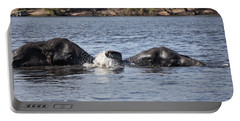 African Elephants Swimming In The Chobe River Botswana Portable Battery Charger
