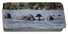 Portable Battery Charger featuring the photograph African Elephants Swimming In The Chobe River by Liz Leyden