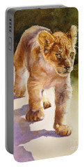 Portable Battery Charger featuring the painting African Lion Cub by Bonnie Rinier