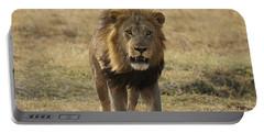 African Lion On Savanna Masai Mara Kenya Portable Battery Charger