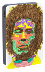 Portable Battery Charger featuring the painting Afro Bob Marley by Stormm Bradshaw