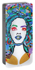 Portable Battery Charger featuring the painting Afro Lauryn Hill  by Stormm Bradshaw