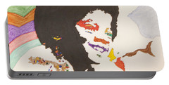 Portable Battery Charger featuring the painting Afro Michael Jackson by Stormm Bradshaw