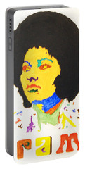 Portable Battery Charger featuring the painting Afro Pam Grier by Stormm Bradshaw