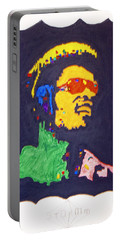 Portable Battery Charger featuring the painting Afro Stevie Wonder by Stormm Bradshaw