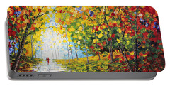 Portable Battery Charger featuring the painting After Rain Autumn Reflections Acrylic Palette Knife Painting by Georgeta Blanaru