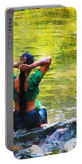 After The River Bathing. Indian Woman. Impressionism Portable Battery Charger
