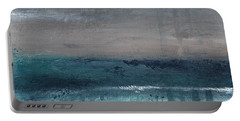 After The Storm- Abstract Beach Landscape Portable Battery Charger by Linda Woods