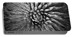 Agave Spikes Black And White Portable Battery Charger by Alan Socolik