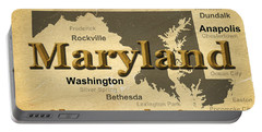 Aged Maryland State Pride Map Silhouette  Portable Battery Charger