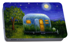 Portable Battery Charger featuring the painting Airstream Camper Under The Stars by Sandra Estes