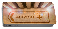 Airport Directions Portable Battery Charger by Semmick Photo