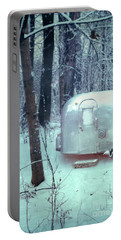 Airstream Trailer In Snowy Woods Portable Battery Charger