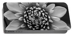Ala Mode Dahlia In Black And White Portable Battery Charger
