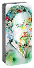 Alan Watts Watercolor Portrait Portable Battery Charger by Fabrizio Cassetta