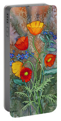 Alaska Poppies And Forgetmenots Portable Battery Charger by Teresa Ascone