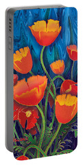Portable Battery Charger featuring the mixed media Alaska Poppies by Teresa Ascone