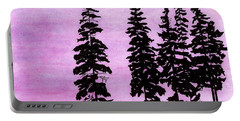 Portable Battery Charger featuring the drawing Colorful - Alaska - Sunset by D Hackett