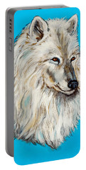 Portable Battery Charger featuring the painting Alaska White Wolf by Bob and Nadine Johnston