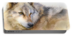 Portable Battery Charger featuring the painting Alaskan Gray Wolf by Bonnie Rinier