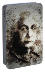 Portable Battery Charger featuring the painting Albert Einstein by Shanina Conway