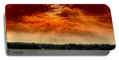 Portable Battery Charger featuring the photograph Alberta Canada Cattle Herd Hdr Sky Clouds Forest by Paul Fearn