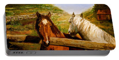 Portable Battery Charger featuring the painting Alberta Horse Farm by Sher Nasser