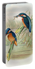 Alcedo Ispida Plate From The Birds Of Great Britain By John Gould Portable Battery Charger