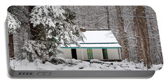 Portable Battery Charger featuring the photograph Alfred Reagan's Home In Snow by Debbie Green