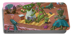 Portable Battery Charger featuring the painting Alien Beach Vacation by Martin Davey