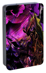 Portable Battery Charger featuring the digital art Alien Floral Fantasy by David Lane