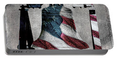 All American Liberty Bell Art_denim Portable Battery Charger