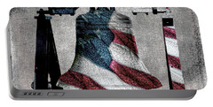 All American Liberty Bell Art_denim Portable Battery Charger by Lesa Fine
