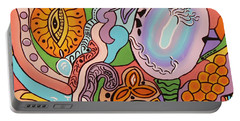 Portable Battery Charger featuring the painting All Seeing Egg Salad by Barbara St Jean