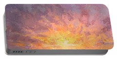 Impressionistic Sunrise Landscape Painting Portable Battery Charger by Karen Whitworth