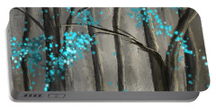 Alleviation- Gray And Turquoise Art Portable Battery Charger