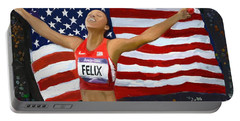 Allison Felix Olympian Gold Metalist Portable Battery Charger by Vannetta Ferguson