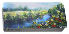 Portable Battery Charger featuring the painting Along The Poppy Valley by Vesna Martinjak