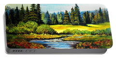 Portable Battery Charger featuring the painting Alpine Meadow by Hazel Holland