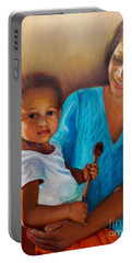 Portable Battery Charger featuring the painting Always In Her Heart And In Her Hands by Marlene Book