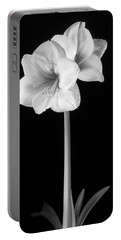 Amaryllis In Black And White Portable Battery Charger