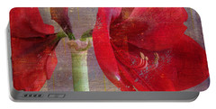 Amaryllis In The Rough Portable Battery Charger by Larry Bishop
