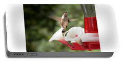 Portable Battery Charger featuring the photograph Amazing Hummingbird Frozen In Flight by Belinda Lee