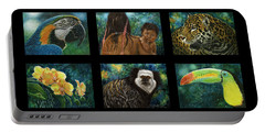 Portable Battery Charger featuring the mixed media Amazon Series Collage by Sandra LaFaut