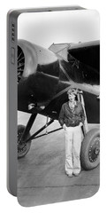 Amelia Earhart And Her Plane Portable Battery Charger