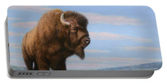 American Bison Portable Battery Charger by James W Johnson