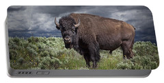 American Buffalo Or Bison In Yellowstone Portable Battery Charger
