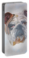 Portable Battery Charger featuring the painting American Bulldog Pet Portrait by Tracey Harrington-Simpson