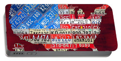American Flag Map Of The United States In Vintage License Plates Portable Battery Charger