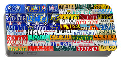 American Flag Scrap Metal Recycled License Plate Art Of The 50 States Portable Battery Charger